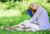 Woman Relax Nature Background. Save Time For Relax. Create Break For Yourself. Smart Time Management poster