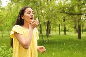 Young Woman Suffering From Seasonal Allergy Outdoors, Space For Text poster