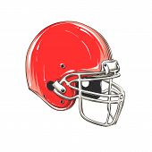 Vector Drawing Of American Football Helmet In Color, Isolated On White Background. Graphic Illustrat poster