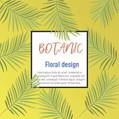 Vector Yellow Greenery Botanic Poster Card Design: Forest Fern Frond Eucalyptus Branch Green Leaves  poster