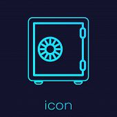 Turquoise Safe Line Icon Isolated On Blue Background. The Door Safe A Bank Vault With A Combination  poster