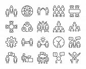 Business People Icon. Business People Line Icon Set. Editable Stroke, 64x64 Pixel Perfect. poster