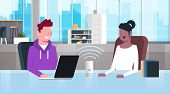 Mix Race People Sitting At Workplace Desk Man Woman Using Intelligent Smart Speaker With Voice Recog poster
