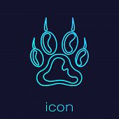 Turquoise Paw Print Line Icon Isolated On Blue Background. Dog Or Cat Paw Print. Animal Track. Vecto poster
