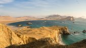 Coast Of Paracas In Peru During The Sunset, Panoramic View Of The Coast And The Desert poster