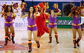 KUALA LUMPUR - FEBRUARY 19: Cheerleaders of the Malaysian Dragons in a dance routine at the start of