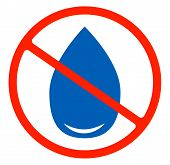 No Water Resistant, No Waterproof Or Do Not Drink With Drop Warning Signs Flat Symbols Prohibition I poster