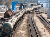 The Train Transports Oil In Tanks
