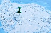 Office Button Pointing To The Destination On The Map Antarctica, South Pole. Antarctica, South Pole  poster
