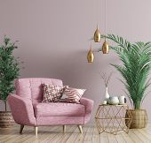 Interior Of Living Room With Golden Coffee Table, Pink Armchair, Home Design 3d Rendering poster