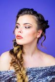 Braided Hairstyle. Girl Makeup Face Braided Long Hair. French Braid. Professional Hair Care And Crea poster