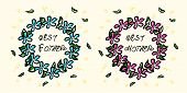Doodle Wreath With The Inscription The Best Father And The Best Mother. Sketchy Drawing. Pink And Bl poster