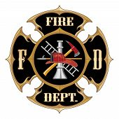stock photo of firemen  - Illustration of a vintage fire department Maltese cross with full color firefighter inside - JPG