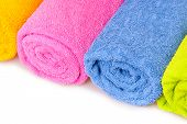 color towels isolated on white
