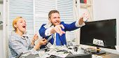 Celebrate Profit. Easy Profit Business Tips. Man And Woman Cheerful Happy Colleagues Throw Up Dollar poster