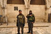 JERUSALEM - FEBRUARY 17: Members of the Israeli Border Police in the Old City February 17, 2012 in J