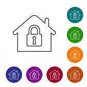 Grey House Under Protection Line Icon Isolated On White Background. Home And Lock. Protection, Safet poster