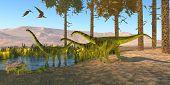 Puertasaurus Dinosaurs 3d Illustration - Pteranodon Reptiles Fly Over A Herd Of Puertasaurus Dinosau poster