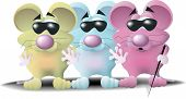 stock photo of nursery rhyme  - three blind mice each a different color and wearing dark glasses - JPG