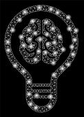 Bright Mesh Brain Bulb With Glow Effect. Abstract Illuminated Model Of Brain Bulb Icon. Shiny Wire F poster