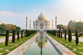 Taj Mahal Front View Reflected On The Reflection Pool, An Ivory-white Marble Mausoleum On The South  poster