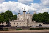 The Tower of London, seen from the River Thames. View to the water-gate called