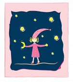 cute girl with moon and stars Postcard vector