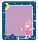 Girl in pyjamas Card vector