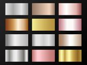 Trendy Golden, Silver, Bronze, Rose Gold Gradients. Metallic Foil Texture Silver, Steel, Chrome, Pla poster