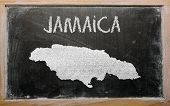 Outline Map Of Jamaica On Blackboard