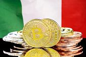 Bitcoins On The Background Of The Flag Italy. Bitcoins On The Background Of The Italy Flag. Concept  poster