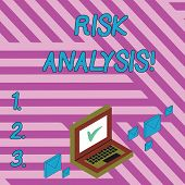 Handwriting Text Writing Risk Analysis. Concept Meaning Review Of The Risks Associated With A Partic poster