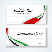 Card With Wavy Ribbon Colors Of The National Flag Of United Arab Emirates (uae) With The Text Of Hap poster