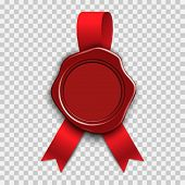 Realistic Stamp Wax Seal With Red Ribbons Isolated On Transparent Background. Waxing Rubber Vintage  poster