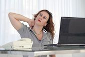Tired Neck. Social Worker. Office Worker Woman Suffering From Neck Pain. Female Feeling Tired, Exhau poster
