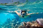 stock photo of undersea  - Young women at snorkeling in the tropical water - JPG