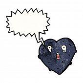 Cartoon Weinen Schwarzes Herz