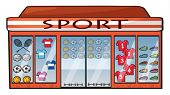 Illustration of a sports shop on a white background