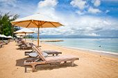 foto of beachfront  - Beautiful Sanur beach on Bali - JPG