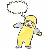 cartoon man in quarantine suit