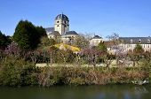 Sarthe river bank at Alen�on in France