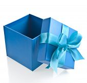 gift wrapped present box with blue satin bow isolated on white