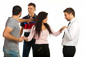 foto of threesome  - Woman flirting with one man while her boyfriend fighting with other man for same woman isolated on white background - JPG