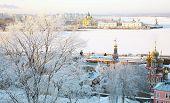 Постер, плакат: Закат в сильных декабря морозы «Стрелка» Нижний Новгород