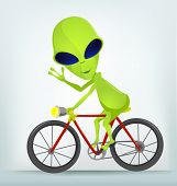 Cartoon Character Funny Alien Isolated on Grey Gradient Background. Biker. Vector EPS 10.