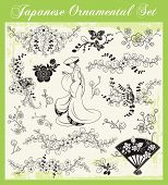 Vector set of traditional Japanese ornaments and oriental decorative designs.
