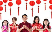 Group of Chinese people greeting, Chinese new year concept, isolated over white background.