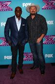 LOS ANGELES - DEC 17:  L.A. Reid, Tate Stevens at the 'X Factor' Season Finale Press Conference at C