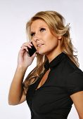 Pretty blond woman at the phone