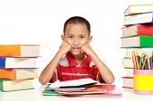 Little Boy With His Homework, With A Lot Of Books Around Him